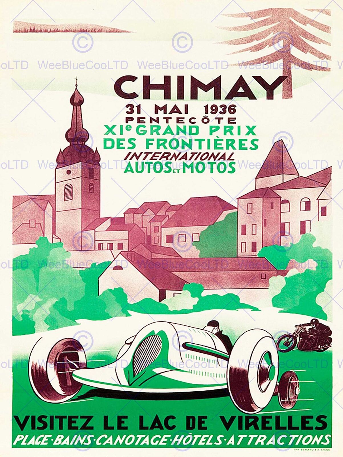 ADVERT EXHIBITION MOTOR SPORT CHIMAY BREWERY BELGIUM HOTEL SPA POSTERBB7883B