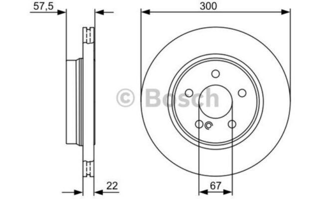 BOSCH Juego de 2 discos freno 300mm ventilado VOLKSWAGEN 0 986 479 411