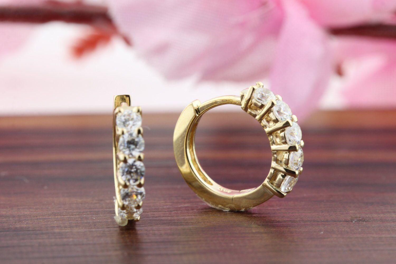 0e11100a08477 Diamond VVS1D Cut Round 0.8ct Earrings Stone Five 14k Hoop Finish ...