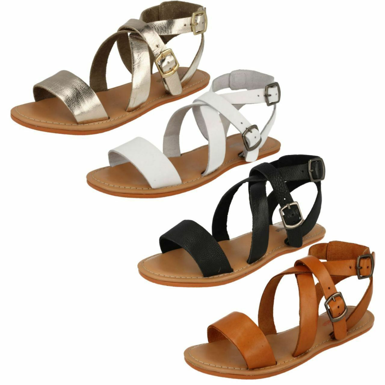 F0924- Ladies Leather Collection Great Strappy Sandals- 4 Colours- Great Collection Price! 8ace5f