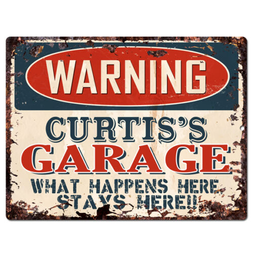 PPFG0112 WARNING CURTIS/'S GARAGE Tin Chic Sign Home man cave Decor Funny Gift