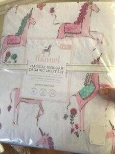 Pottery-Barn-Kids-Magical-Unicorn-Sheet-Set-Pink-Twin-Organic-Flannel-New