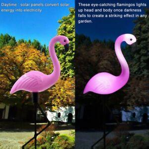 2St-LED-Solar-Flamingo-Rasenlampe-Solarleuchte-Beleuchtung-Wasserdichte-G-vy