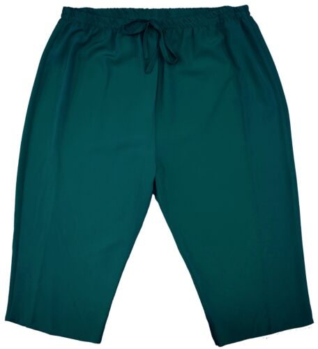 Womens New Lightweight Pull On Crop Trouser Long Shorts Elastic Waist Plus Size