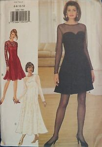 Glam OOP BUTTERICK 3686 MS//MP Fit /& Flared Dresses PATTERN 6-8-10-12//14-16-18 UC