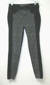 NWT AMERICAN EAGLE Highest Rise Jegging Jeans Sz 10R Black Stretch Lace-Up
