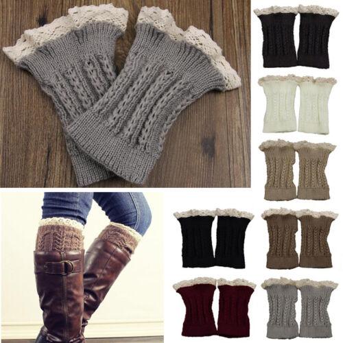 Women Winter Warm Crochet Knitted Lace Trim Leg Warmers Cuffs Toppers Boot Socks