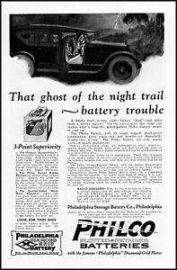 1922 Car ghost of the night trail Philco batteries vintage art print ad ads59