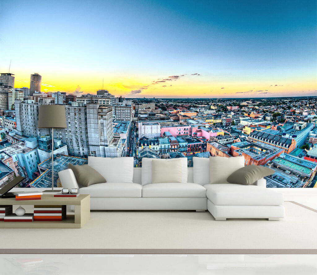 3D city sky scenery dusk Wall Paper Print Decal Wall Deco Indoor wall Mural