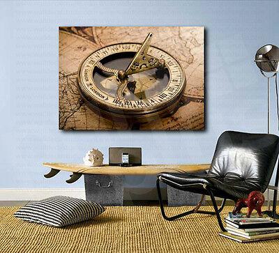 F Compass On Map Art Print Home Decor Wall Art Poster