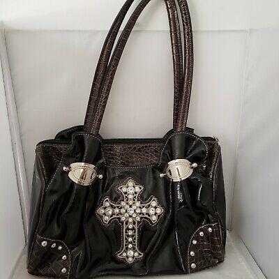 Black Handbag Purse Crystal Cross Faux
