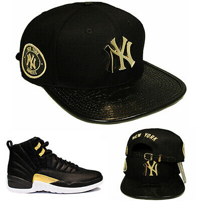 Pro Standard New York Yankees Strapback Hat Match Air Jordan 12 Metallic Gold