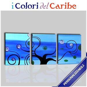 Quadri moderni astratti dipinti a mano olio su tela for Quadri trittici moderni