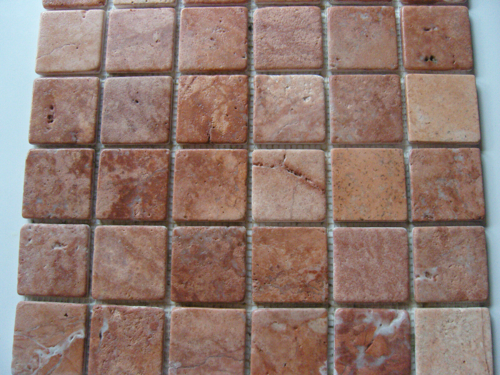 1 qm - Bad Fliese Naturstein Marmor Mosaik rot Rot st0401  antik style