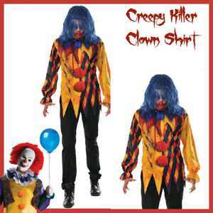 Adult-Killer-Clown-Costume-Shirt-Mens-Halloween-STD-XL-Pennywise-IT-Evil-Jester