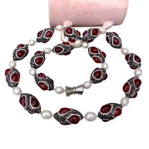 """Red Agate Black Rhinestone Pave Cultured White Rice Pearl Necklace 32"""""""
