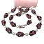"""thumbnail 1 - Red Agate Black Rhinestone Pave Cultured White Rice Pearl Necklace 32"""""""