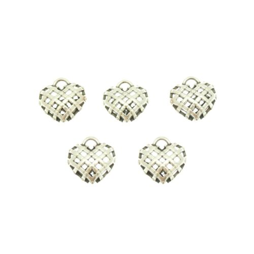 5 Ribbon Silver Plated Heart Charms; Size 14mm