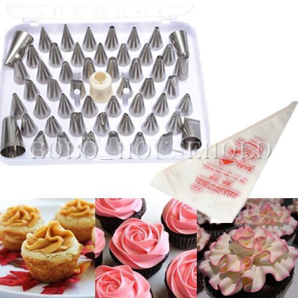 New 52Pcs Icing Piping Nozzle Bag Cake Decorating Sugarcraft Pastry Tip Tool
