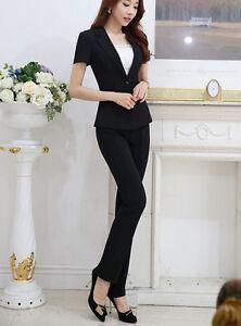 f77c4ee2169a Caricamento dell immagine in corso Elegante-Tailleur-completo-donna-nero- giacca-manica-corta-
