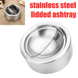 Stainless-Steel-Cigar-Cigarette-Lidded-Ashtray-Ash-Tray-amp-Windproof-Lid-Cover-US