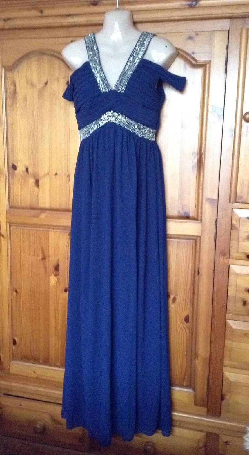 ️ Womens TFNC @ Lipsy Navy Cold shoulder embellished Maxi Dress size M 10-12  ️