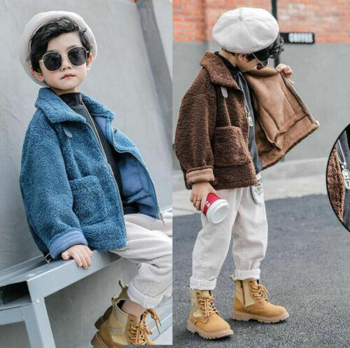 New Boys Kids Faux Fur Shearling Suede Look Lined Buckle Coat Jacket Outerwear
