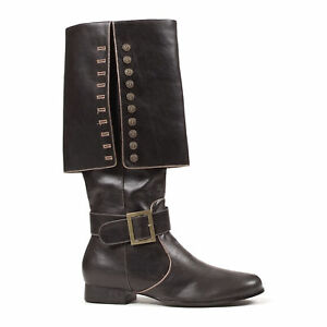 Ellie 121-CAPTAIN Black Men's Pirate Renaissance Gypsy Swashbuckler Knee Boot