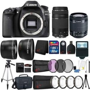 Canon-EOS-80D-24-2MP-DSLR-Camera-w-18-55mm-and-75-300mm-Lens-amp-Accessory-Kit