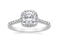 1.5 Carat Wedding Engagement RING Round Cut Halo White Gold Plated SIZE 5-10