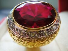 # 11 Men Man Gold 24K Ring EAGLE Ice Red RUBY Sapphire CZ Gemstone Solitaire