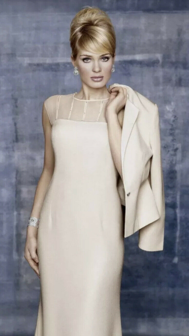 Daymor Couture Embelished Evening Mother of the bride Gown with jacket Ivory