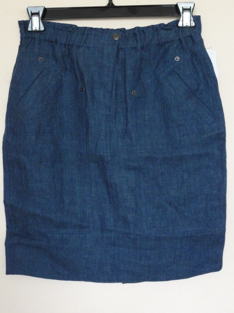 DKNY LINEN DENIM UTILITY SKIRT, bluee, Sz 6.8,12, MSRP  195