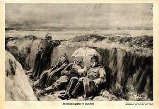Prof. Max Rabes, Berlin Im Geschützgraben in Flandern Soldaten im Regen 1914/15