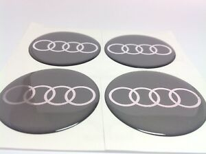 audi autocollant sticker centre de roue cache moyeu jante silicone 4 x 60mm ebay. Black Bedroom Furniture Sets. Home Design Ideas
