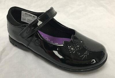BNIB Clarks Girls Binkies Trixi Run Black Patent School Leather Lights Shoes
