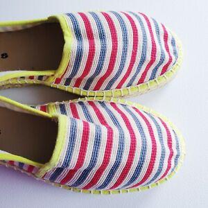 Tamaris-Espadrilles-Size-6-5-UK-40-EU-7-5-USA-Blue-Red-Yellow-Striped-Canvas