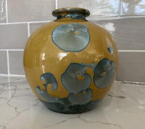 Narkin Studio Art Pottery Yellow Blue Floral Crystalline Glaze Round Vase signed