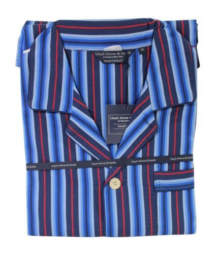 Lloyd Attree /& Smith Gents 100/% Cotton Pyjamas Navy Blue /& Red Stripe Medium