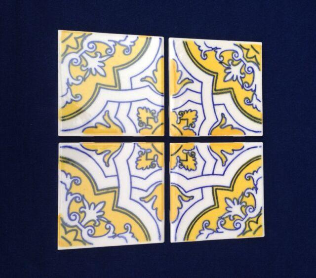 Vtg Hand Painted Tiles (Group of 4) Tile Art Set Gardena, California UNUSED VGC