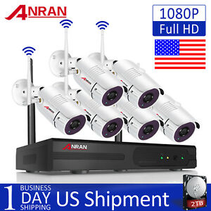ANRAN 1080P WIFI Security Camera System 8CH NVR Outdoor IP CCTV Wireless 2TB Kit