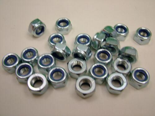 bright zinc plated Nyloc locking lock nuts nylon insert M10 steel pack of 25