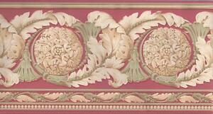 Wallpaper-Border-Architectural-Acanthus-Leaf-Medallion-Scroll-Pink-Sage-Cream