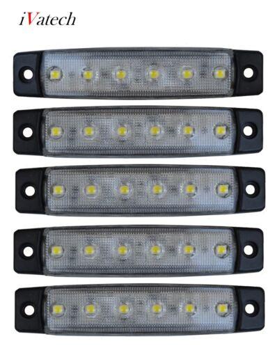 5 X 12V BLANC SMD 6 LED FEUX DE GABARIT CAMION  SHASSIS REMORQUES VAN BUS