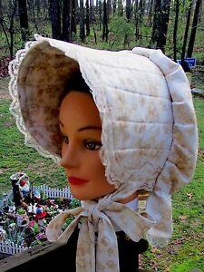 CIVIL WAR DRESS VICTORIAN ACCESSORIES LADYS BROWN FLORAL COTTON SLAT~SUN BONNET
