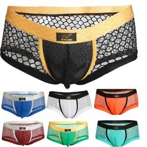 Mens Camouflage Boxer Underwear See Through Jockstrap Thongs Briefs Underpants