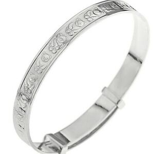 925-Sterling-Silver-Baby-Bangle-Christening-Birthday-Present-Expanding-Boxed
