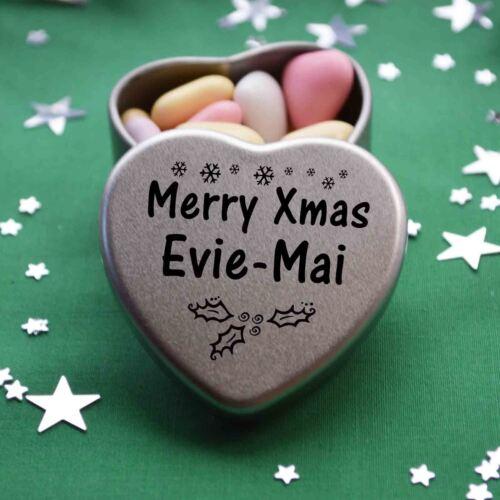 Merry Xmas Evie-Mai Mini Heart Tin Gift Present Happy Christmas Stocking Filler