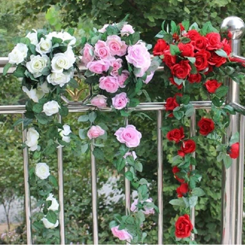 M artificiel faux soie fleur rose ivy vigne guirlande for Livraison fleurs paypal