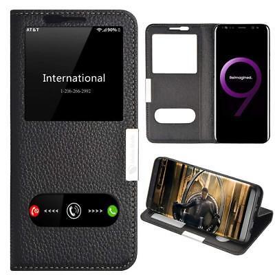 samsung galaxy s9 plus case ultra thin flip black case genuine leather cover s9 ebay